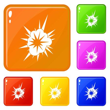 Nucleate explosion icons set vector color
