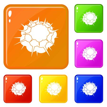 Atomic explosion icons set vector color 向量圖像