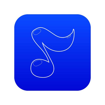 Music note icon blue vector isolated on white background