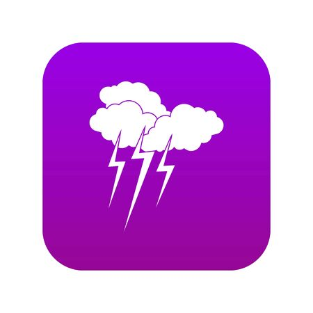 Cloud with lightnings icon digital purple for any design isolated on white vector illustration