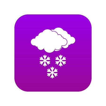 Cloud and snowflakes icon digital purple