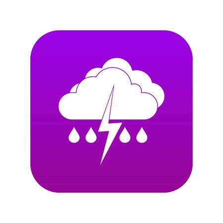 Cloud with lightning and rain icon digital purple for any design isolated on white vector illustration
