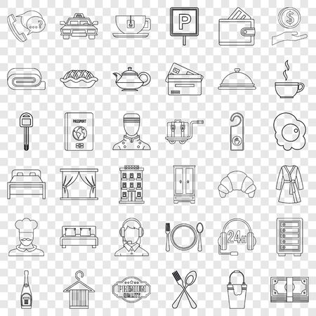 Hotel lamp icons set, outline style