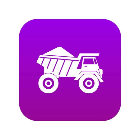 Dump truck with sand icon digital purple for any design isolated on white vector illustration