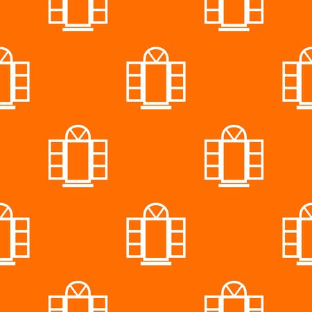 Open narrow window frame pattern vector orange Illustration