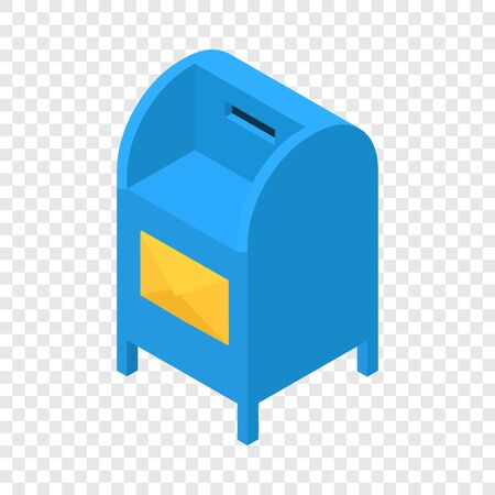 Blue mailbox icon. Isometric illustration of blue mailbox vector icon for web Vettoriali