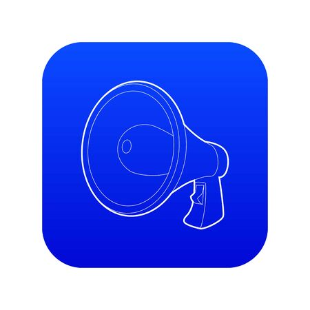 Loudspeaker icon blue vector isolated on white background