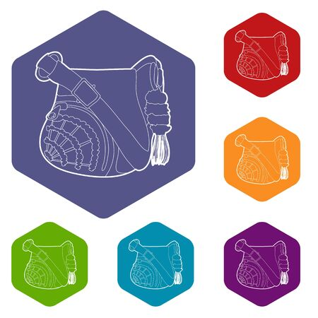Teenage school backpack icon in outline style isolated on white background vector illustration Stock Illustratie