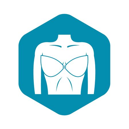 Female breast in a bra icon, simple style Ilustração
