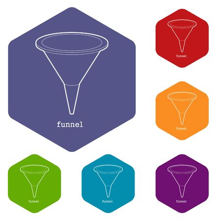 Funnel icon in outline style isolated on white background vector illustration