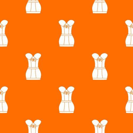 Retro corset pattern vector orange Illustration