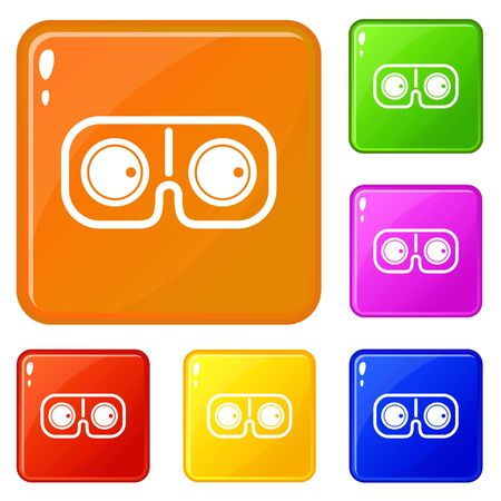 Game glasses icons set vector color