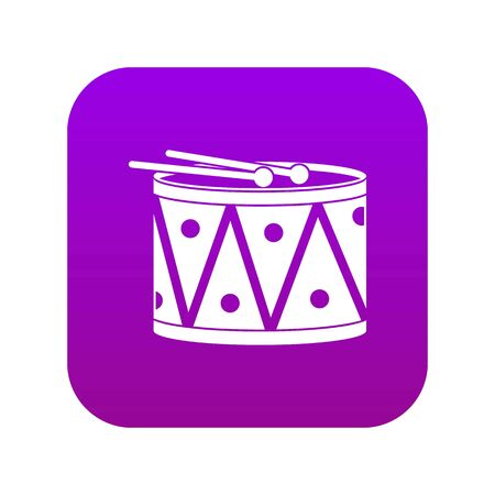 Drum and drumsticks icon digital purple for any design isolated on white vector illustration Illusztráció