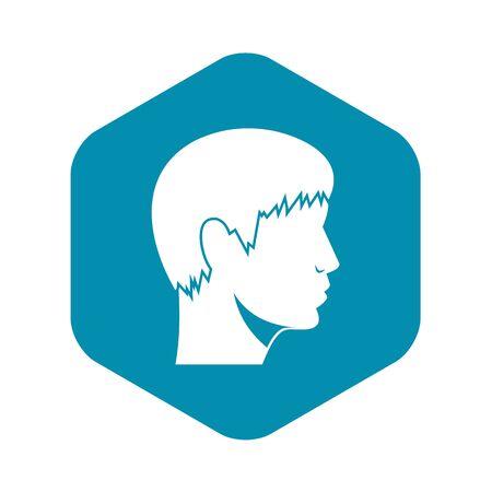 Man head icon. Simple illustration of man head vector icon for web