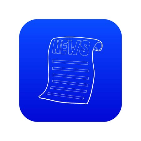 Newspaper icon blue vector isolated on white background