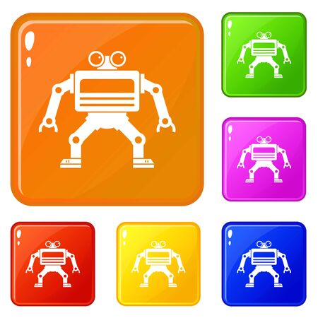 Machine icons set vector color