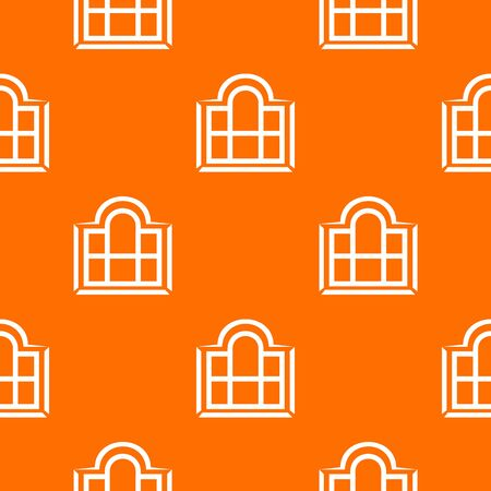 Beautiful window frame pattern vector orange