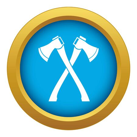 Two crossed axes icon blue vector isolated on white background for any design Illustration