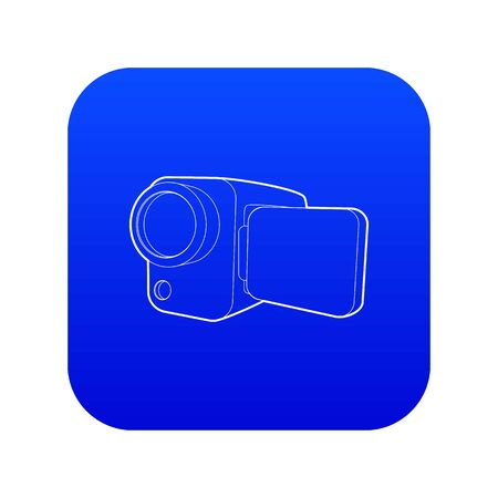 Camcorder icon blue vector