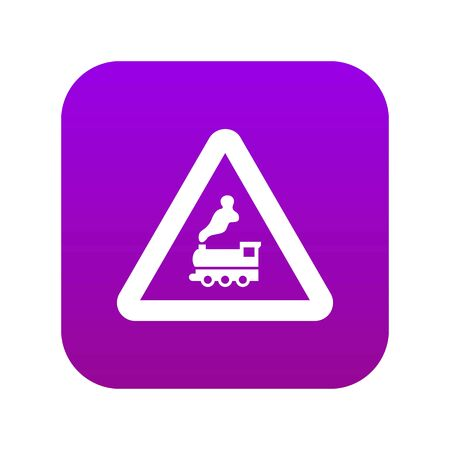 Warning sign railway crossing without barrier icon digital purple Illustration