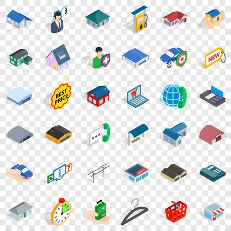 Garage icons set, isometric style