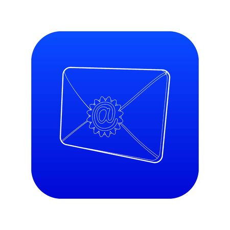 Envelope with email sign seal icon blue vector isolated on white background