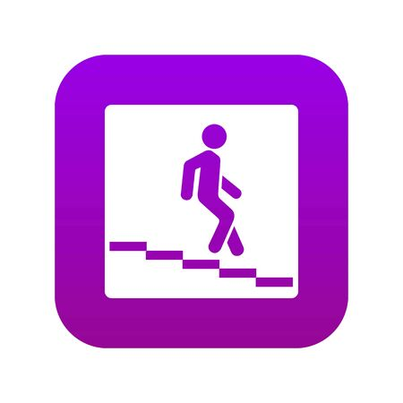 Underpass road sign icon digital purple for any design isolated on white vector illustration Ilustração
