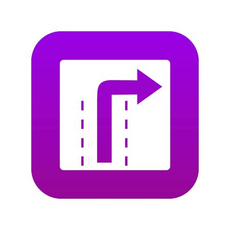 Turn right traffic sign icon digital purple for any design isolated on white vector illustration