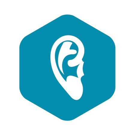 Ear icon, simple style Illustration