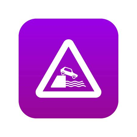 Riverbank traffic sign icon digital purple