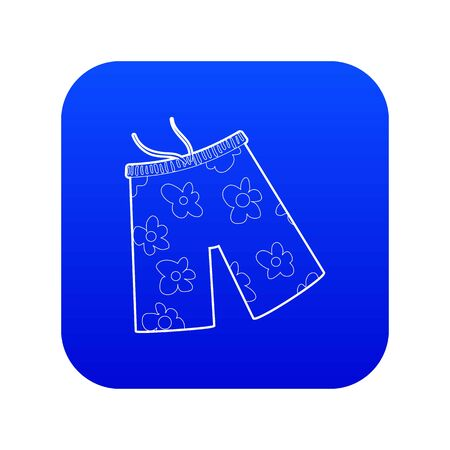Shorts for swimming icon blue vector isolated on white background