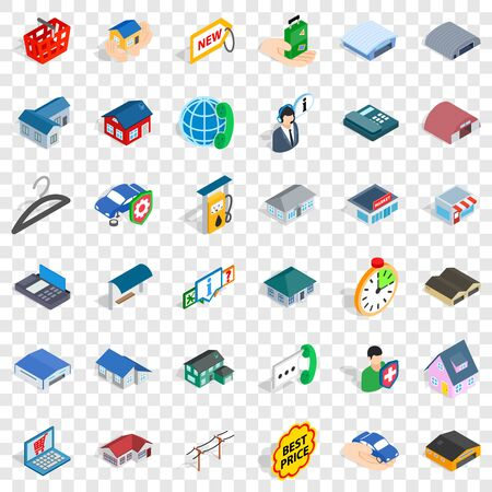 Roof icons set, isometric style