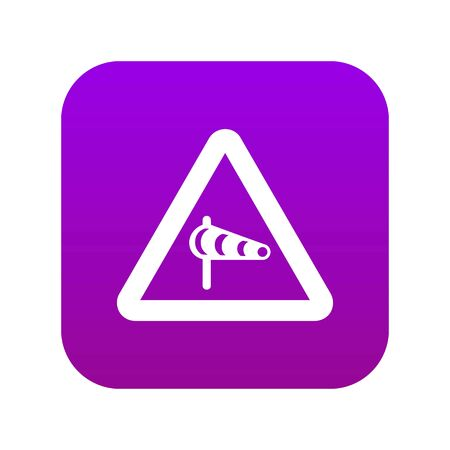 Sign warning about cross wind from the left icon digital purple Illustration
