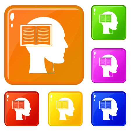 Head with open book icons set collection vector 6 color isolated on white background