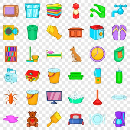 Cleaning woman icons set, cartoon style Vettoriali