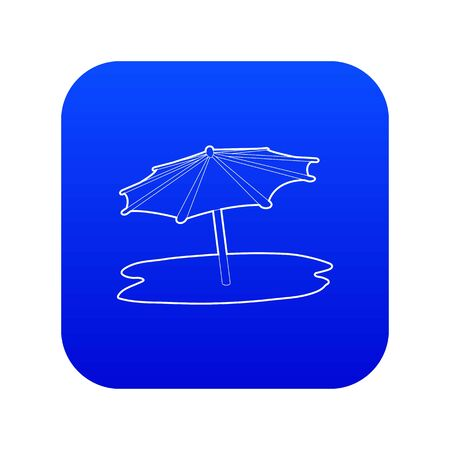 Beach umbrella icon blue vector isolated on white background