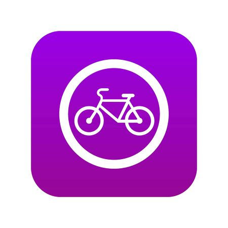 Travel by bicycle is prohibited traffic sign icon digital purple for any design isolated on white vector illustration Ilustração