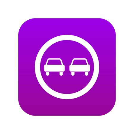 No overtaking road traffic sign icon digital purple for any design isolated on white vector illustration