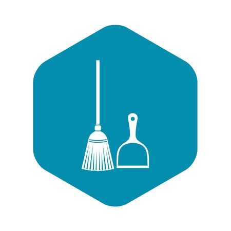 Broom and dustpan icon, simple style Stock Illustratie