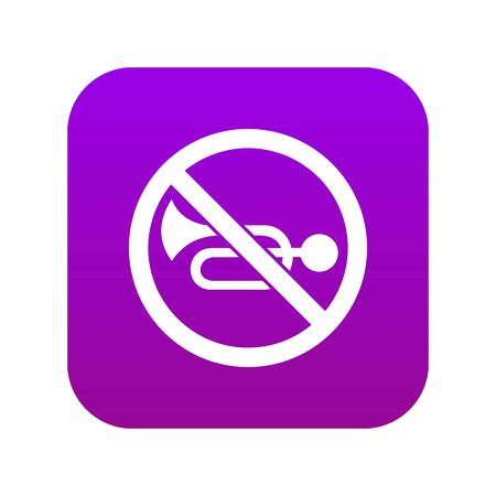 No horn traffic sign icon digital purple for any design isolated on white vector illustration