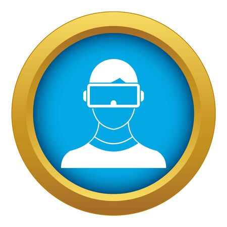 Virtual 3d reality goggles icon blue vector isolated Illustration