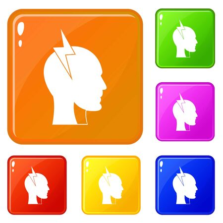 Lightning bolt inside head icons set collection vector 6 color isolated on white background