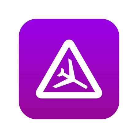 Warning sign of low flying aircraft icon digital purple