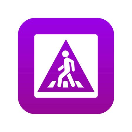 Pedestrian road sign icon digital purple for any design isolated on white vector illustration  イラスト・ベクター素材
