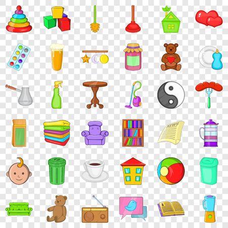 Housecraft icons set, cartoon style