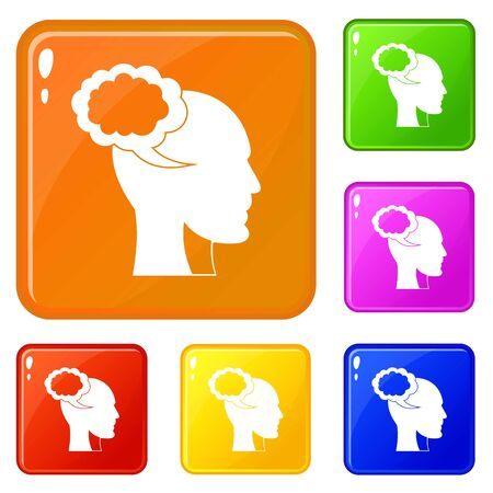 Speech bubble with human head icons set collection vector 6 color isolated on white background