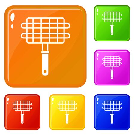 Stainless barbecue grill camping basket icons set collection vector 6 color isolated on white background