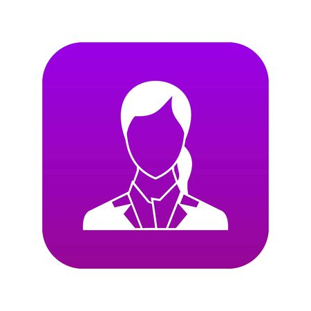 Woman icon digital purple for any design isolated on white vector illustration