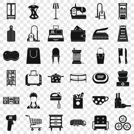 Housework icons set, simple style