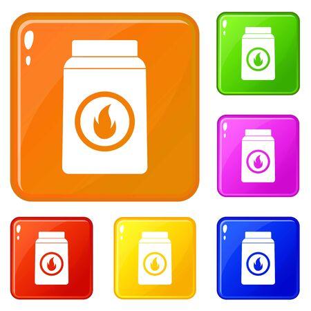Matchbox icons set vector color